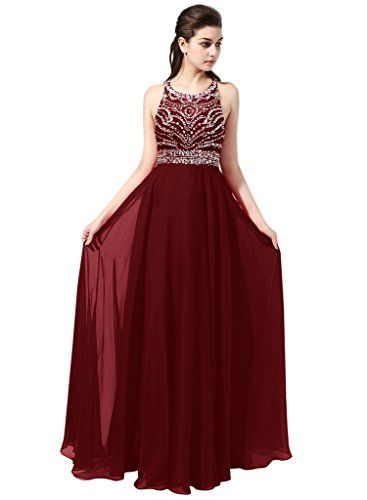 Stunning Aline Scoop Long Chiffon Prom Dress Evening Gown With