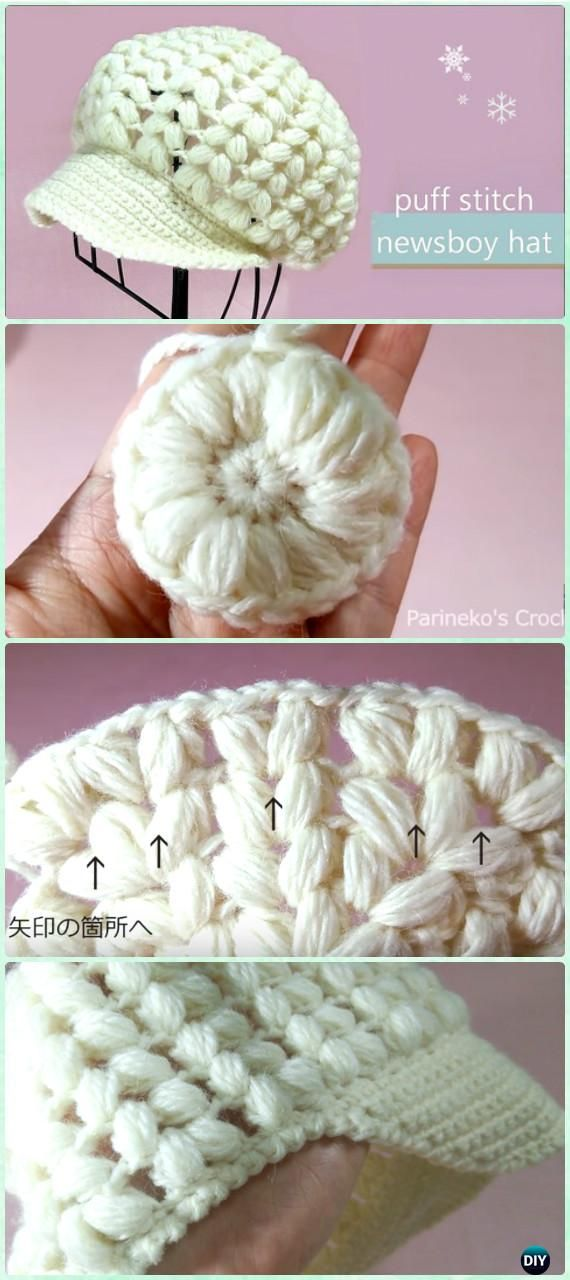Crochet Puff Stitch Newsboy Hat Free Pattern Video - Crochet Women ...