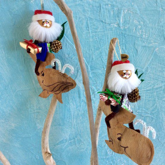 Hawaiian Christmas - ornaments - Whale Riders - Hawaii St Nick