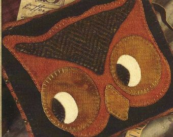 Primitive Folk Art Wool Applique Pattern:  OCTOBER - Woolen PIN CUSHION
