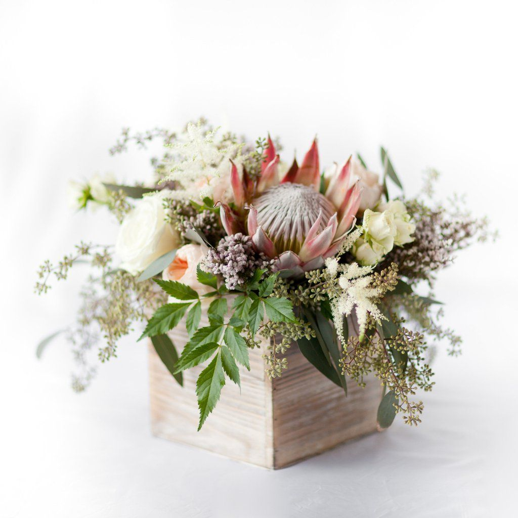 Protea Wedding Flowers: King Protea Centerpiece – Pops Of Plum