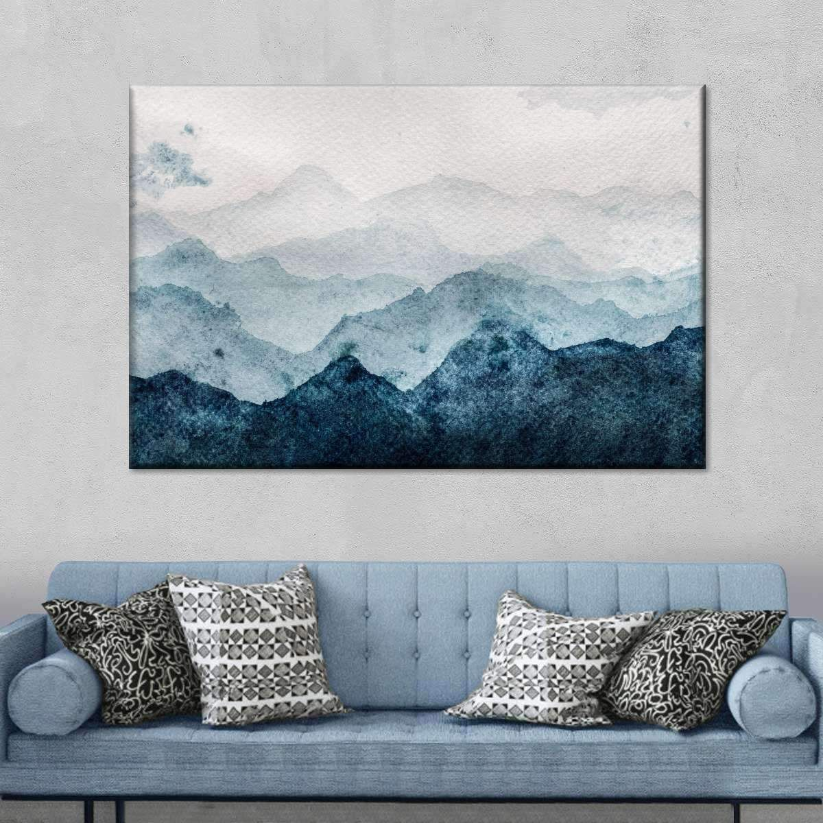 Japanese Mountain Landscape Multi Panel Canvas Wall Art In 2020 Mountain Wall Painting Diy Abstract Canvas Art Japanese Wall Art