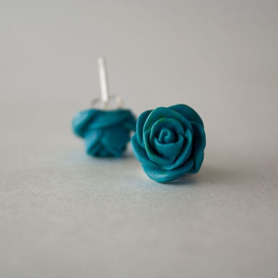 Turquoise Rose Button Earrings by CraftsByCaleigh on Etsy