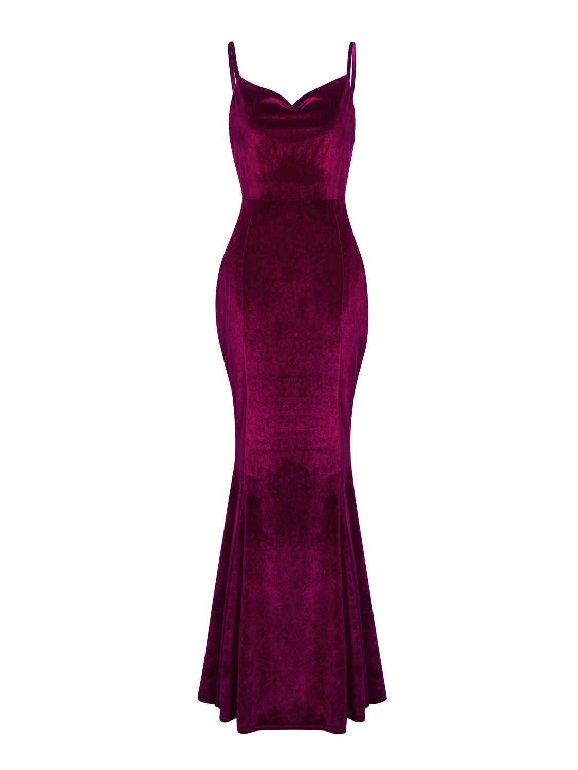 40ad9af4fe68 Burgundy Spaghetti Strap Backless Velvet Maxi Dress - Choies.com ...