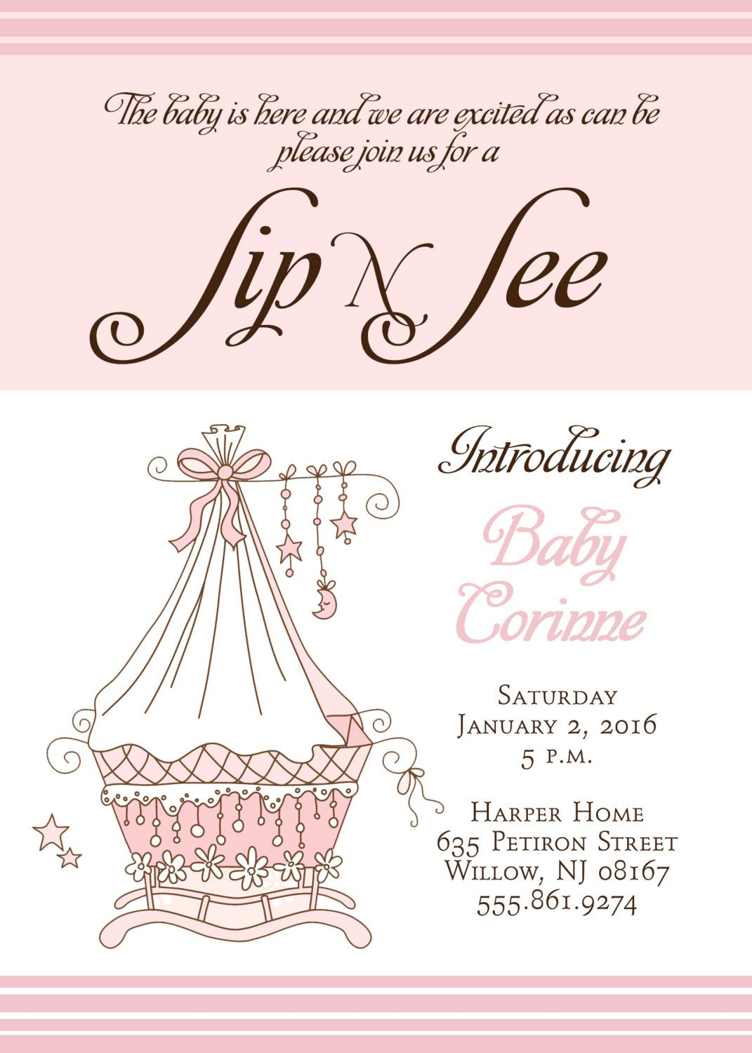 SIP and SEE Invitation Printable Digital file Baby Arrival Party