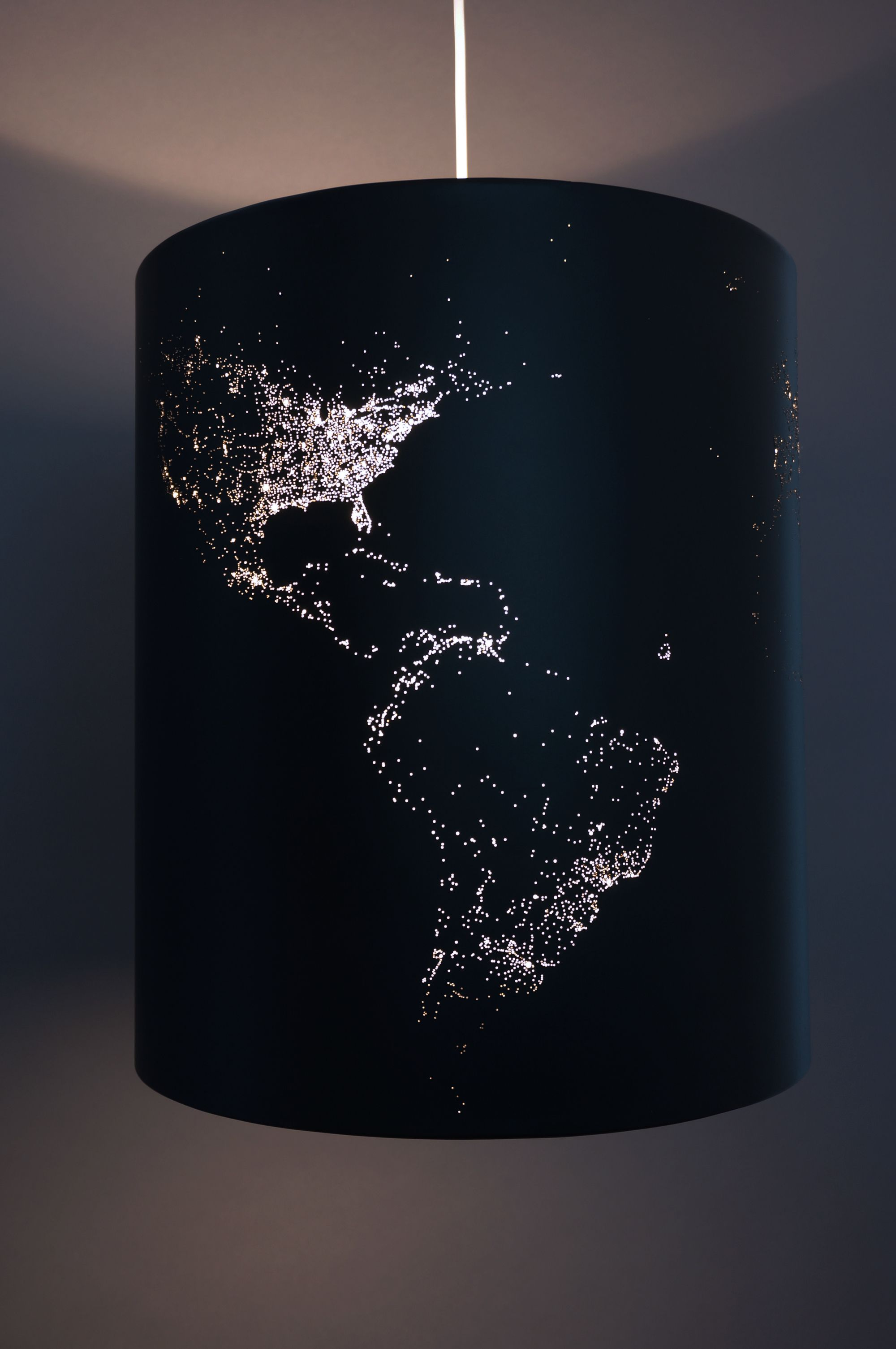 Solar Eclipse 1, World At Night Map Lamp Is A Unique Cylindrical Luminaire  Depicting The