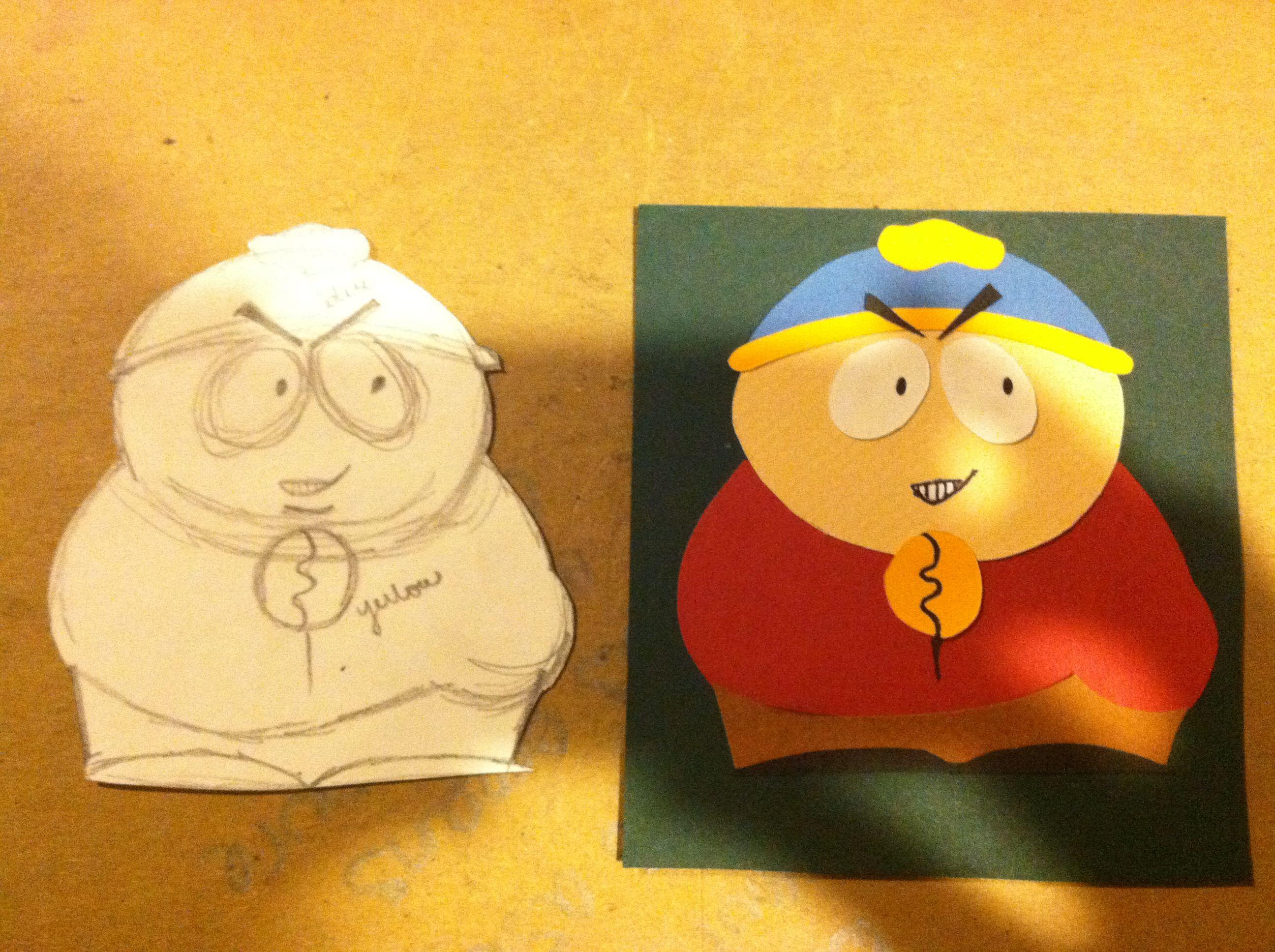 Hand-cut paper Cartman Card.
