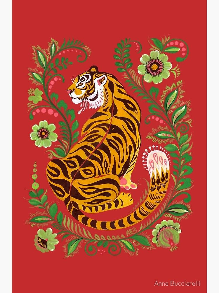 'Tiger Folk Art' Poster by Anna Bucciarelli