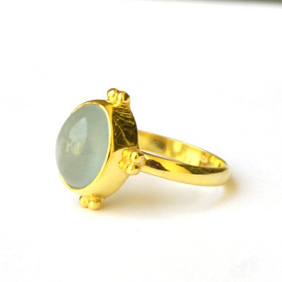 Aquamarine Ring Yellow Gold On Sterling Silver Ring Oval Cab