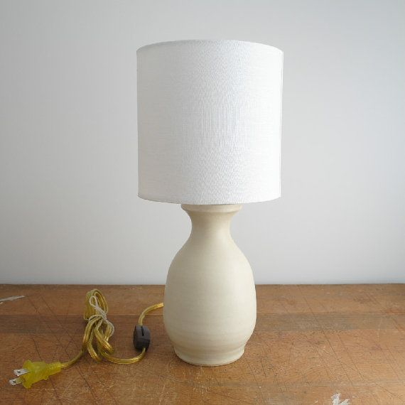 Hand thrown ceramic white vase mini table lamp by markschilling