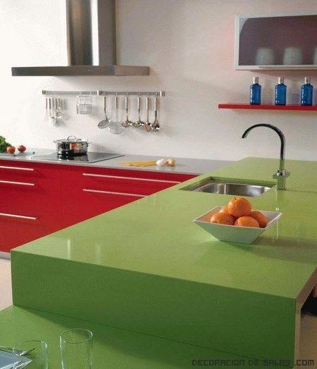 Encimeras de color verde cocinas integrales m dul studio - Encimeras de colores ...