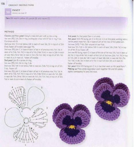 crochet - pansy pattern | örgü aksesuar | Pinterest ...