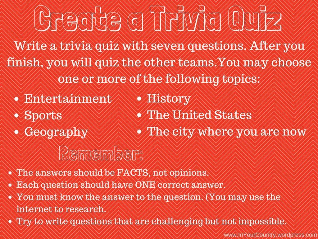 Create A Trivia Quiz Create It Task 3