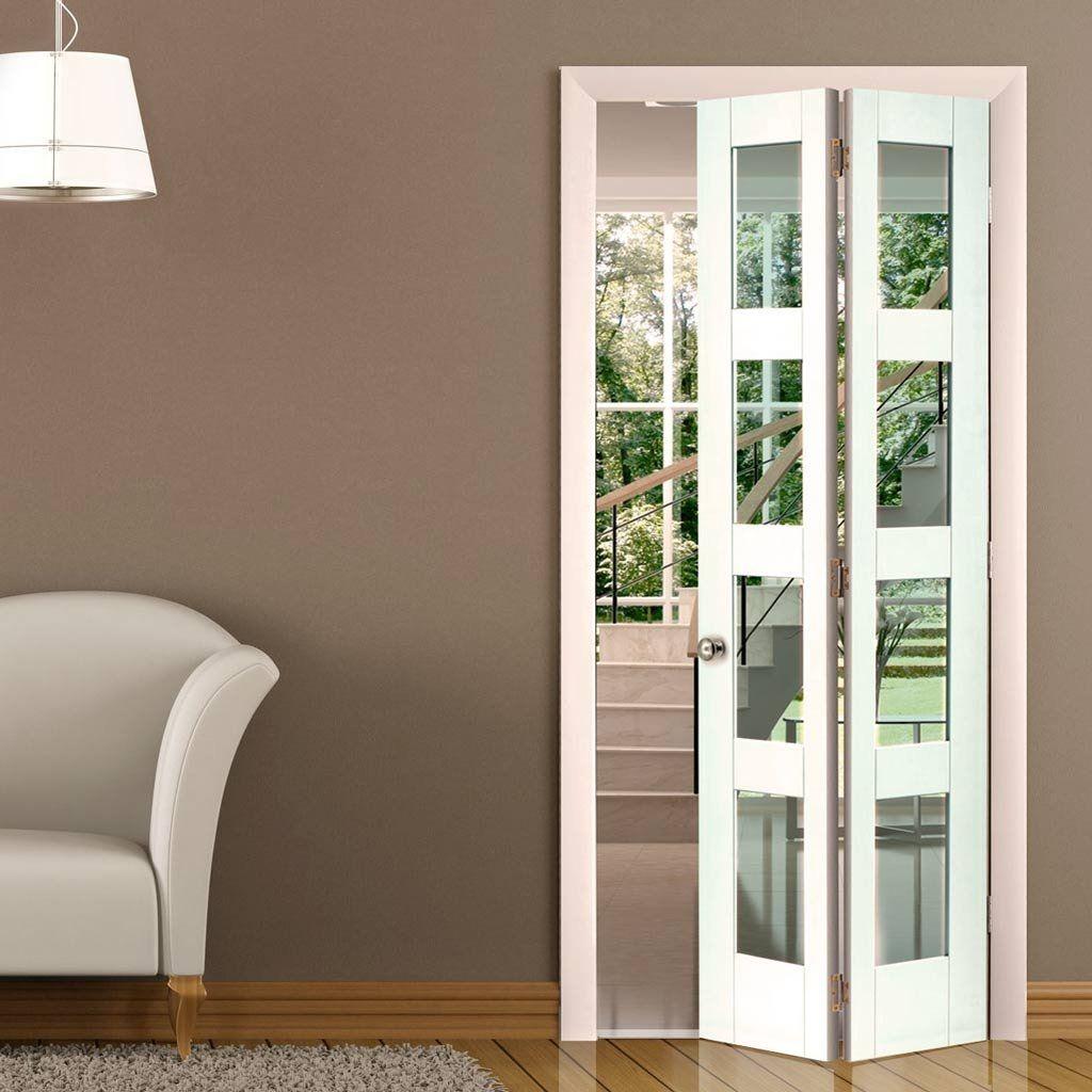 White internal bifold doors with glass x pink bathroom