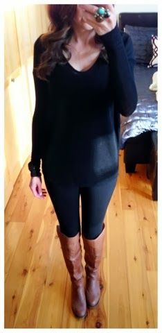 Sweater with Black Leggings Brown Boots and Dress