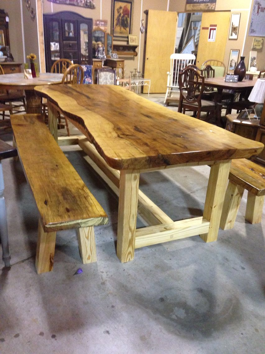 Marvelous Custom Made Farm Table And Benches From Slabs Of Solid Pecan. Exquisite By  Watts Woodworking, Jasper, AL