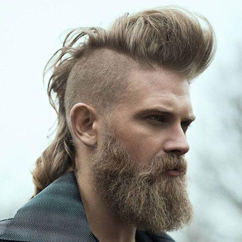 Pomp Mohawk With Beard Mohawk Hairstyles Men Long Hair Styles Men Viking Hair