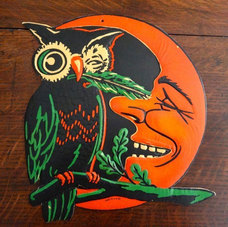 Decorations Halloween 1930s Vintage 1930s Halloween Diecut Winking Owl Moon Beistle Usa Decoratio Vintage Halloween Images Vintage Halloween Halloween Images