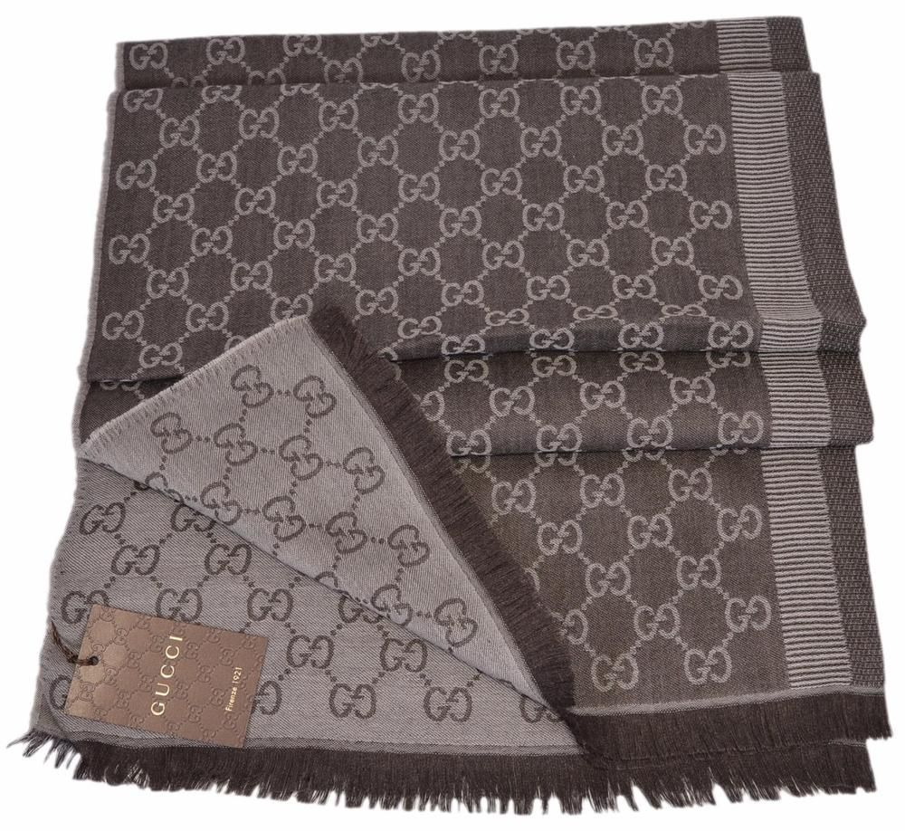 New Gucci 282390 Large Brown Sand Wool Silk GG Guccissima Scarf Muffler   Gucci  Scarf ea815554cb9