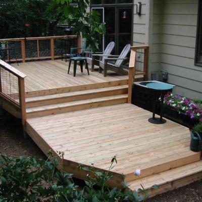 Custom Bi Level Cedar Deck Richfield Mn Multi Level Deck Patio Deck Designs Deck Design