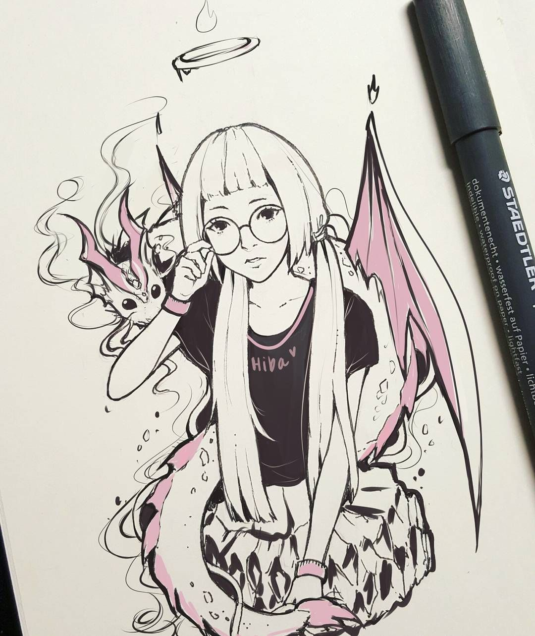 "#inktober day 5 Ok so I showed this drawing to a friend and their first reaction was ""wtf is going on in this picture"" xDD I know I failed but this is supposed to be a girl with a smol dragon ; _ ; I've never drawn dragons before so it looks weird xD but I guess it was a good practice QvQ #medtober #mypetdragon #sketchbook (also kinda inspired by @j0uzai I love her hair :3 )"