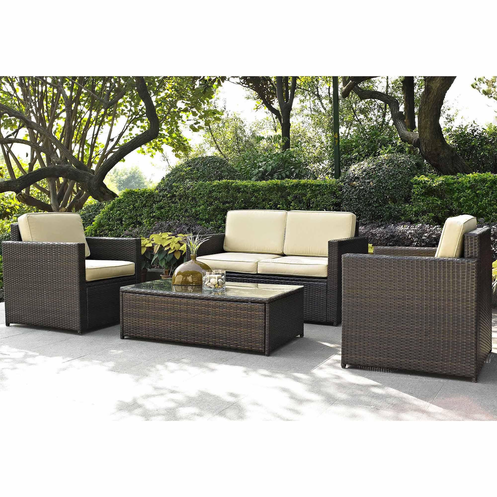 Furnitures Awesome Wicker Patio Furniture With Yellow Cushions