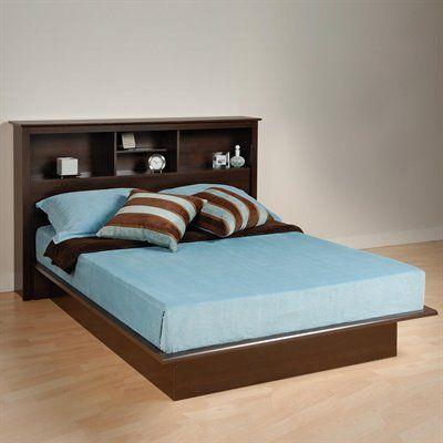 Prepac Furniture Platform Bed With Bookcase Headboard