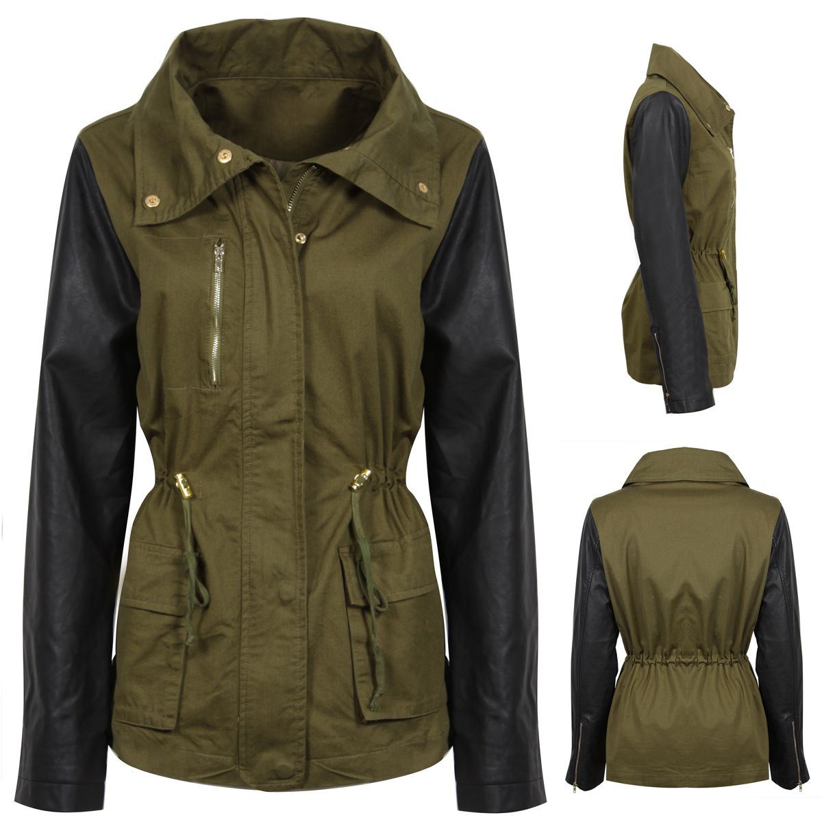 NEW WOMENS CONTRAST GREEN MILITARY JACKLET PARKA FAUX LEATHER ...
