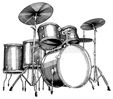 Drum Set Ink Drawing Vector Illustrations Drums Drums Art