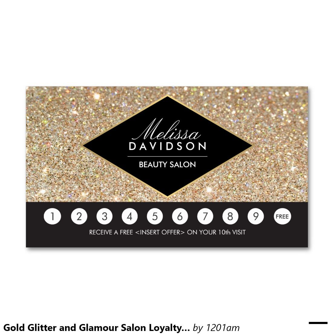 Gold Glitter and Glamour Salon Loyalty Punch Card Double-Sided ...