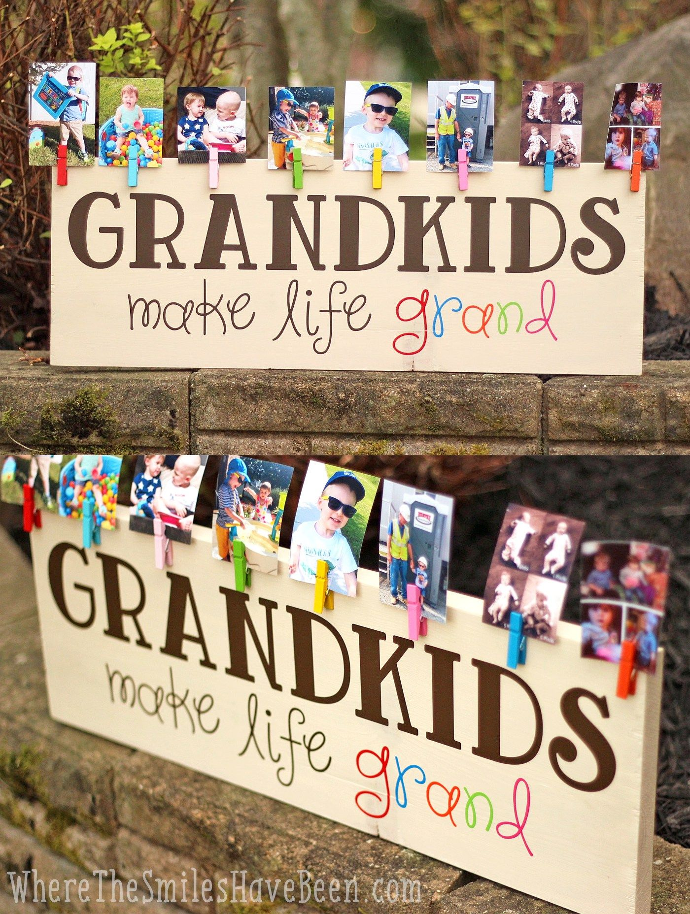 its a great diy gift idea colorful grandkids make life grand wood sign photo display where the smiles have been