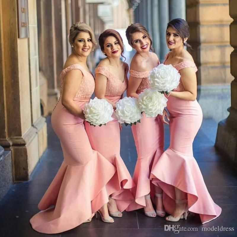 High Low Lace Beach Bridesmaid Dresses 2016 Off Shoulder Appliques ...