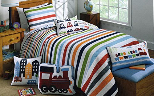 Toddler Bedding Cotton 2pc Twin Quilt Set Reversible Trucks Cars ... : authentic kids quilt - Adamdwight.com