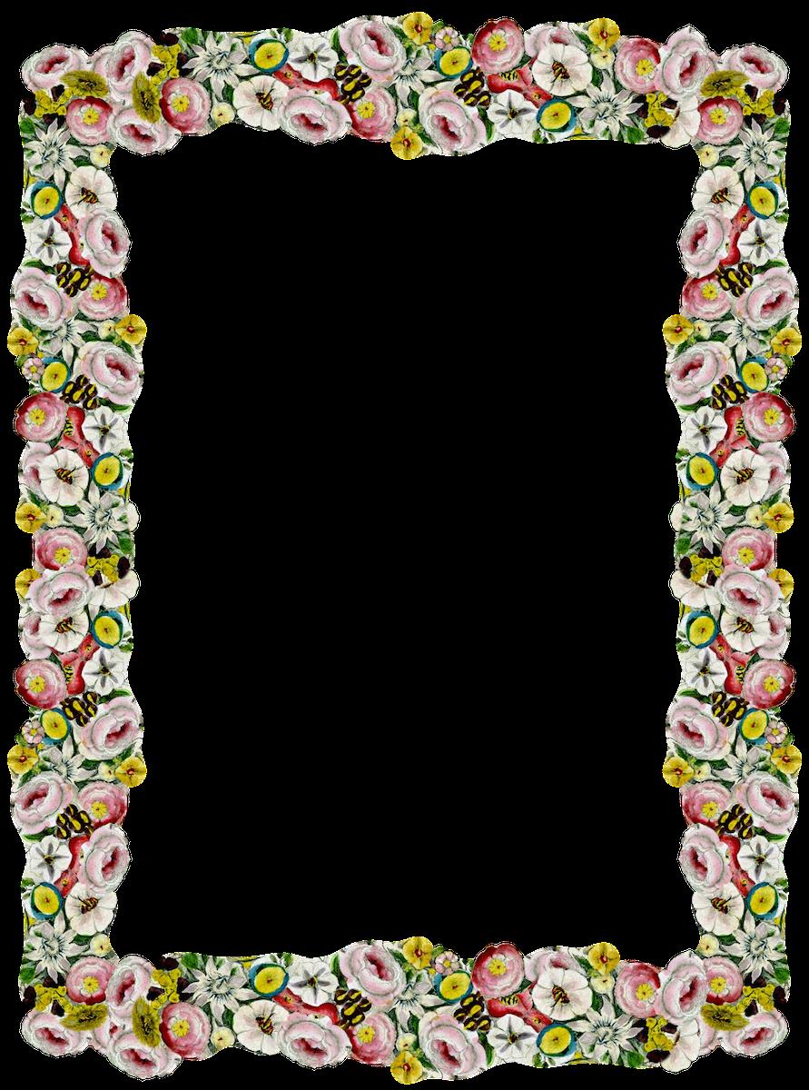 Free digital vintage flower frame and border png - Blumenrahmen ...