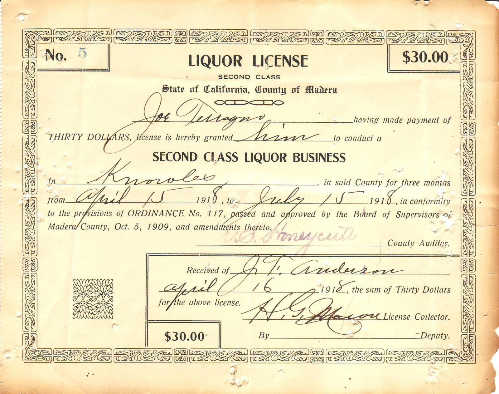 California Liquor Licence 1918 Booze And More Liquor Liquor