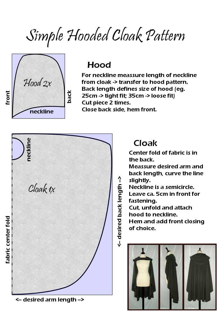 likes-drawing-elves: Simple Hooded Cloak Pattern Difficulty level ...