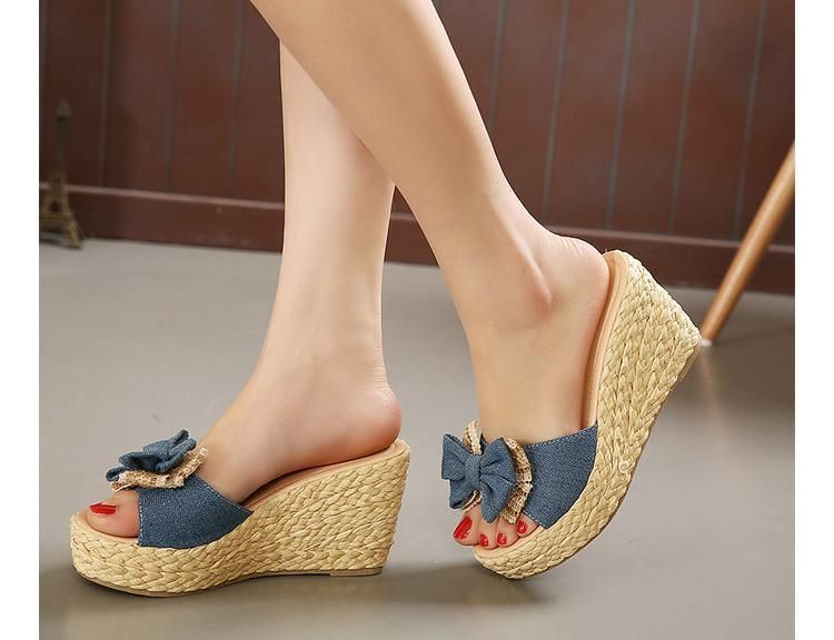 Fashion High Thick Heels Slipper Women Peep Toe Slide Sandals Wedge Platform Sandal Shoe