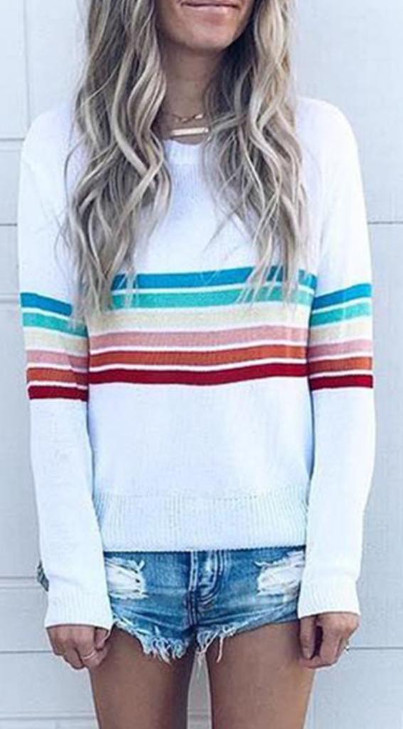 Woman Long Sleeve T-shirt Rainbow Color Stripes Printed Casual T-shirt S-2XL