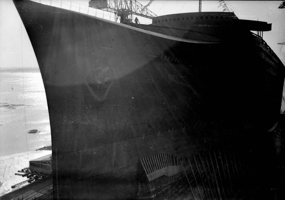 Le Paquebot Normandie Avant Son Lancement Photographie De