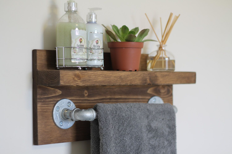 Small Rustic Industrial Towel Rack Bathroom Shelf Rustic Home
