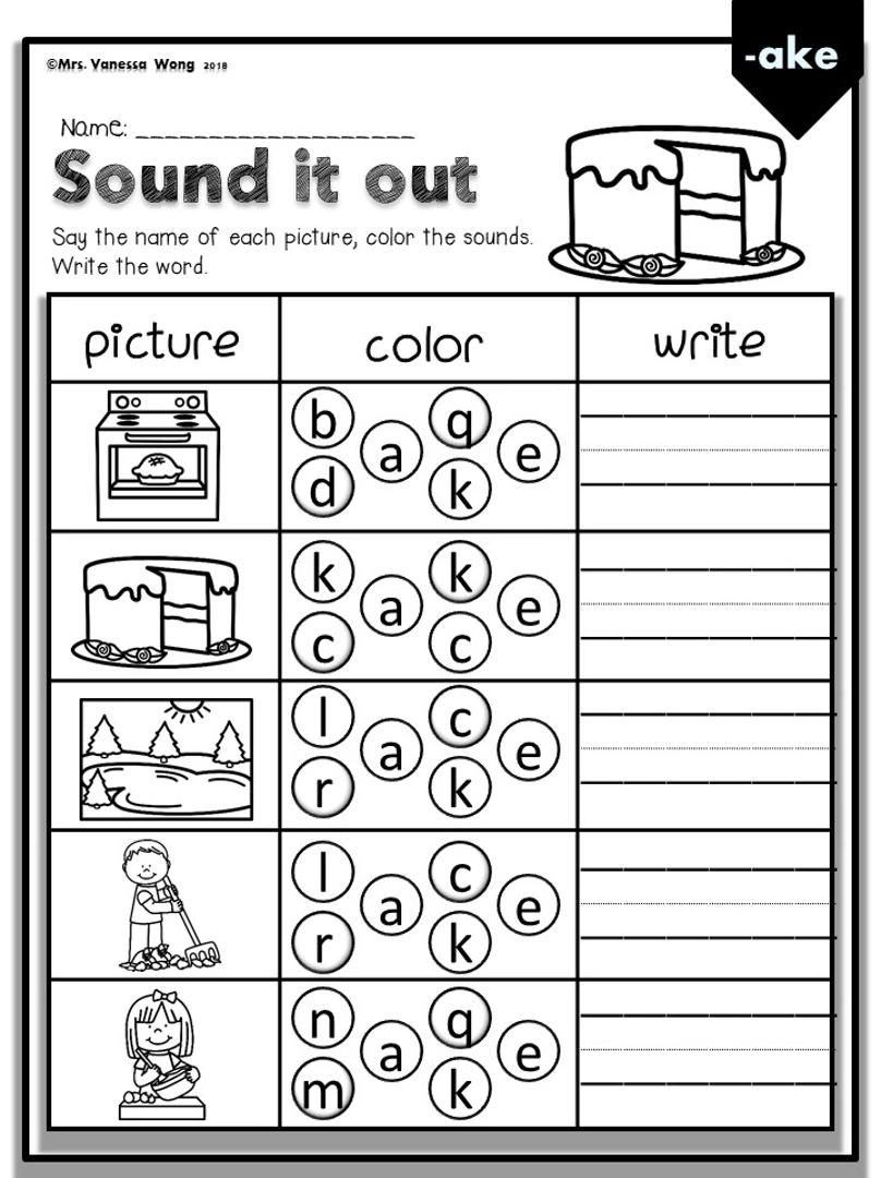 Phonics Activities Worksheets For Kindergarten First Grade Cvce Long Vowel Sound It Out Video First Grade Phonics Phonics Worksheets Phonics [ 1080 x 808 Pixel ]