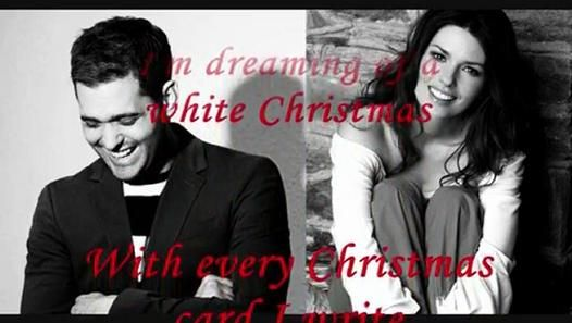 Michael Buble Weihnachten.Michael Buble Ft Shania Twain White Christmas Lyrics On Scre