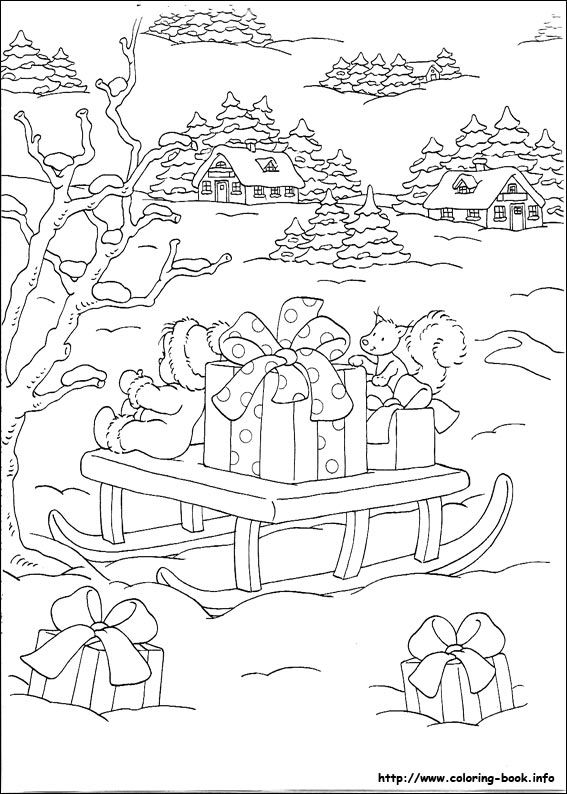 coloring pages christmas doll sitting on a sleigh full of wrapped gifts with more gifts strewn about in the snow