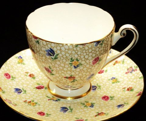 Shelley GoldN Lace chintz Ripon  Tea cup and saucer