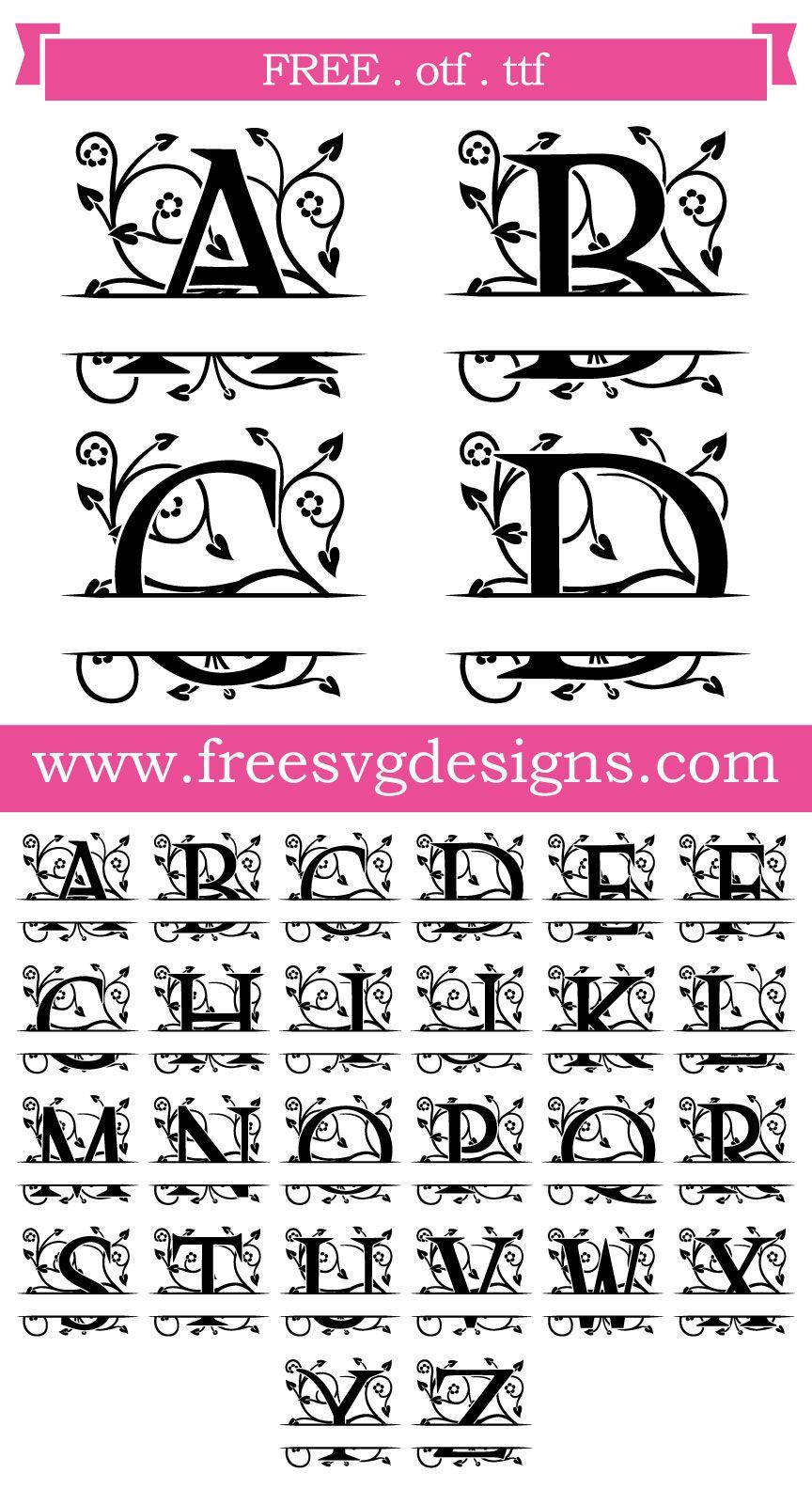 K Monogram Svg Free : monogram, Files, Ornate, Floral, Split, Monogram, Cricut, Monogram,, Fonts,, Fonts