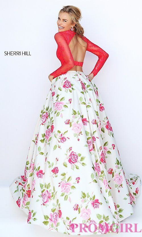 Shop two piece floral print Sherri Hill open back dresses at SimplyDresses.  Long gowns with long lace sleeve crop tops and full ballgown type skirts.