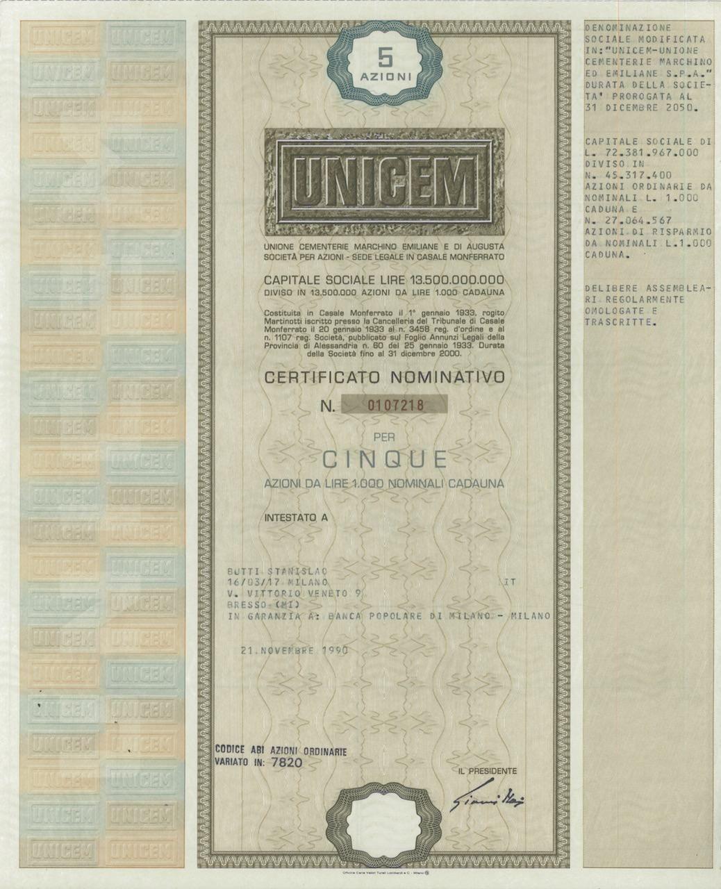 UNICEM - #scripomarket #scriposigns #scripofilia #scripophily #finanza #finance #collezionismo #collectibles #arte #art #scripoart #scripoarte #borsa #stock #azioni #bonds #obbligazioni