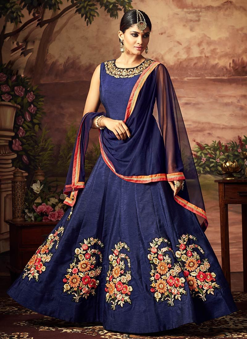 Blue art silk abaya style anarkali suit confirmation party