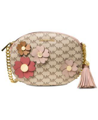 411c97f67ed00a MICHAEL KORS Michael Michael Kors Flora Appliqué Ginny Medium Messenger. # michaelkors #bags #shoulder bags #leather #canvas #polyester #lining #