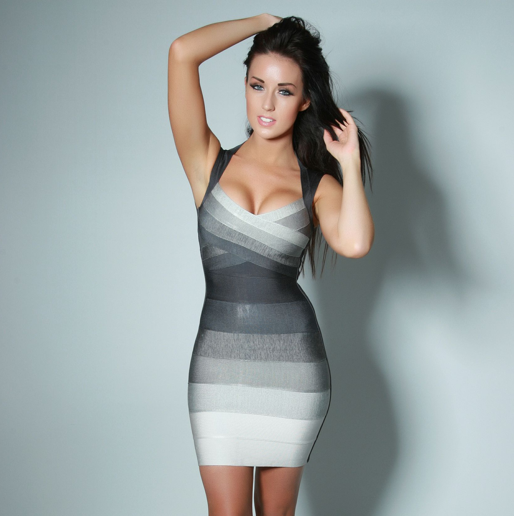 bandage dresses | Home / Bandage Dress / BLACK AND GREY BANDAGE ...